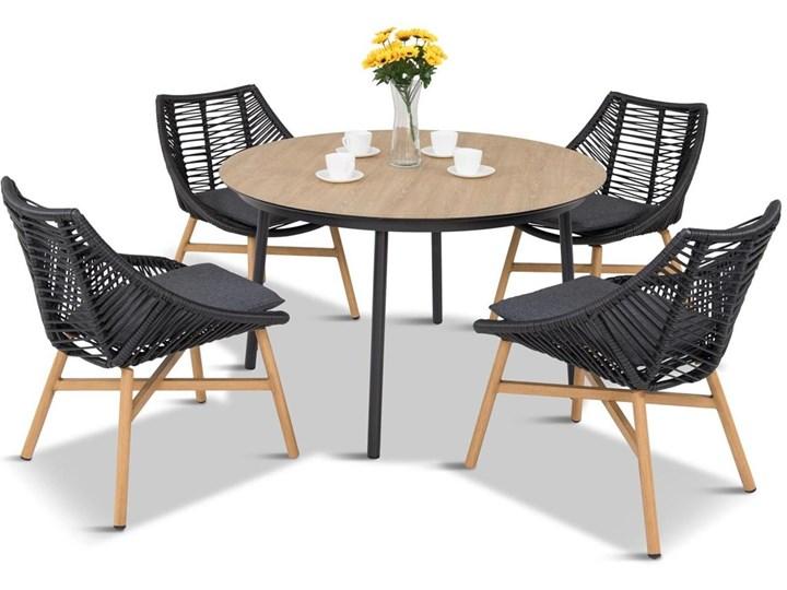Komplet mebli Meblobranie z okrągłym stołem technorattan Almera Dining Black Stoły z krzesłami Zestawy obiadowe Zawartość zestawu Krzesła Aluminium Styl Nowoczesny