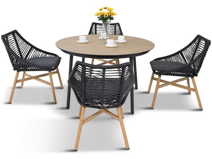 Komplet mebli Meblobranie z okrągłym stołem technorattan Almera Dining Black Stoły z krzesłami Kolor Beżowy Aluminium Zestawy obiadowe Zawartość zestawu Krzesła