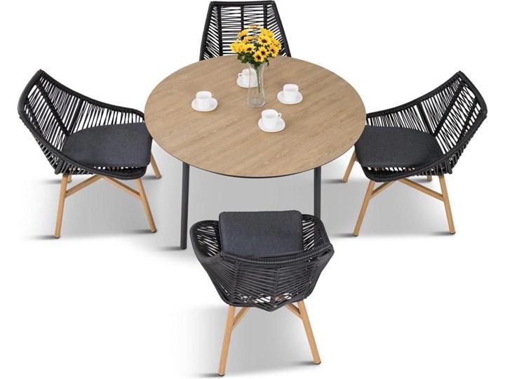 Komplet mebli Meblobranie z okrągłym stołem technorattan Almera Dining Black Kolor Czarny Zestawy obiadowe Stoły z krzesłami Aluminium Kategoria Zestawy mebli ogrodowych