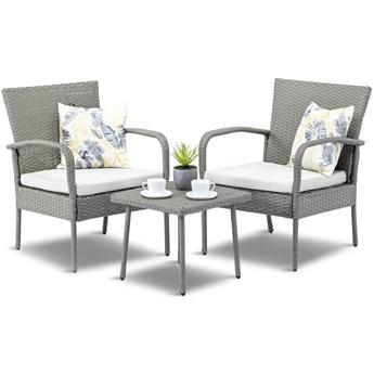 Meblobranie Fotele i stolik na niewielki balkon Morrone Duo Grey & Ivory
