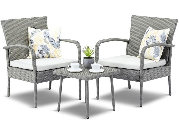 Meblobranie Fotele i stolik na niewielki balkon Morrone Duo Grey & Ivory Zestawy kawowe Technorattan Styl Nowoczesny