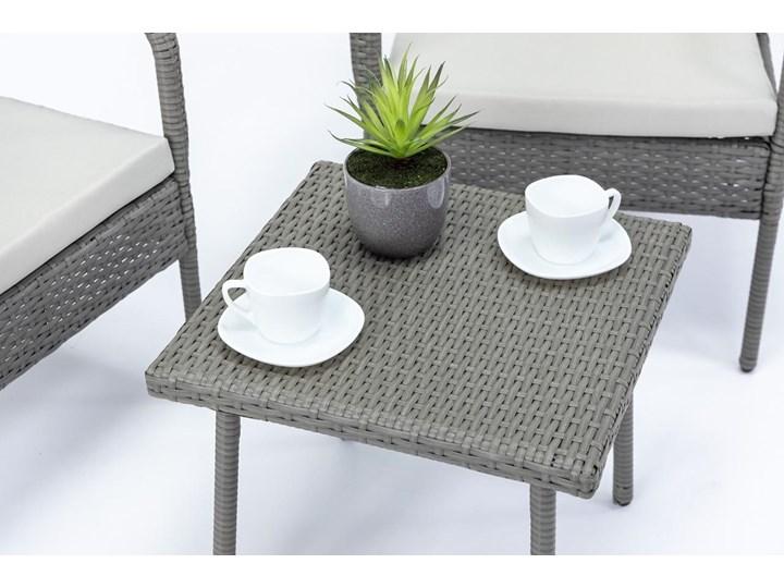 Meblobranie Fotele i stolik na niewielki balkon Morrone Duo Grey & Ivory Technorattan Zestawy kawowe Styl Nowoczesny