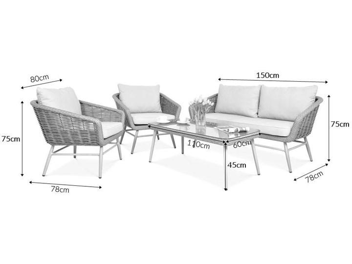 Meblobranie Technorattanowe meble ogrodowe w stylu boho Roca Beige Aluminium Zestawy wypoczynkowe Zestawy kawowe Kolor Beżowy Zawartość zestawu Stolik