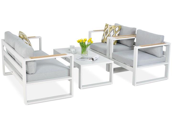 Aluminiowe meble ogrodowe białe Meblobranie Panama Drewno Aluminium Zestawy kawowe Zestawy wypoczynkowe Kolor Biały