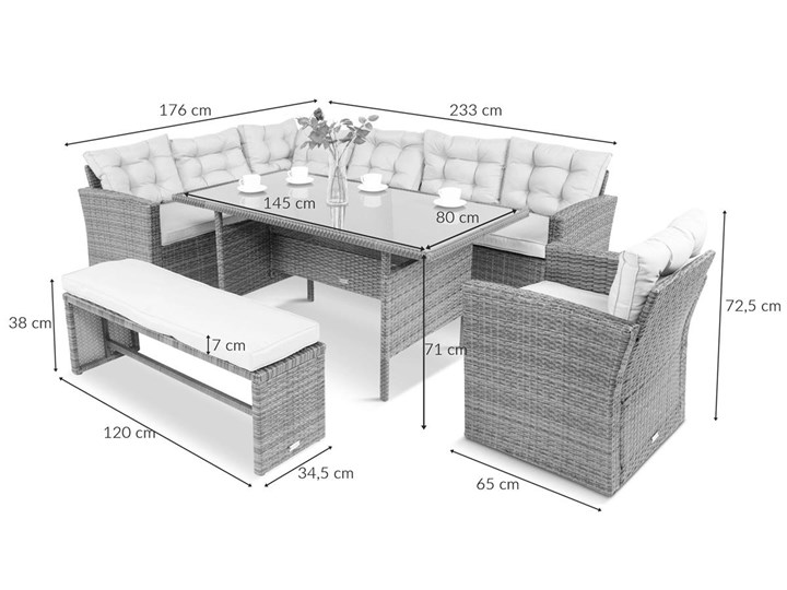 Meblobranie Duży zestaw narożny na taras z technorattanu Topiano Plus Grey & Ivory Zestawy wypoczynkowe Zawartość zestawu Narożnik Zestawy obiadowe Zawartość zestawu Sofa