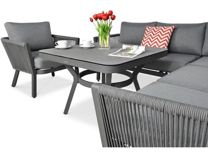 Meblobranie Nowoczesny narożnik ogrodowy szary z fotelem Salvador Dining Aluminium Zestawy wypoczynkowe Zestawy modułowe Zawartość zestawu Sofa