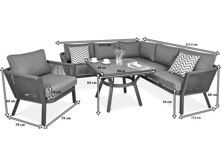 Meblobranie Nowoczesny narożnik ogrodowy szary z fotelem Salvador Dining Zestawy modułowe Zawartość zestawu Sofa Aluminium Zestawy wypoczynkowe Zawartość zestawu Stolik