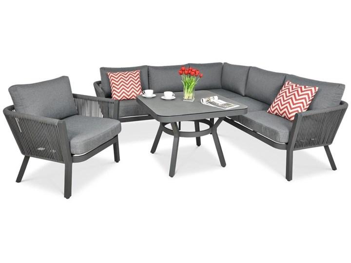 Meblobranie Nowoczesny narożnik ogrodowy szary z fotelem Salvador Dining Aluminium Zawartość zestawu Stolik Zestawy wypoczynkowe Zestawy modułowe Zawartość zestawu Sofa