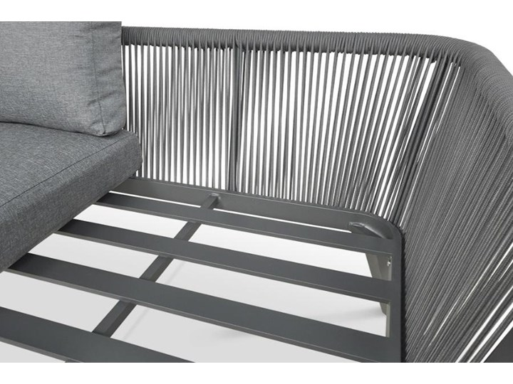 Meblobranie Nowoczesny narożnik ogrodowy szary z fotelem Salvador Dining Zestawy modułowe Zestawy wypoczynkowe Aluminium Zawartość zestawu Sofa