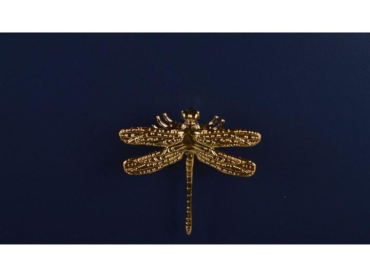 Komoda granatowa ze złotymi uchwytami GoldenFly Wysokość 78 cm Lustro Głębokość 30 cm Szerokość 78 cm Styl Glamour