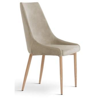 Krzesło LUSILL ST beżowy aksamit / dąb