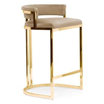 Hoker LUKSI  velvet / złota podstawa 78 cm