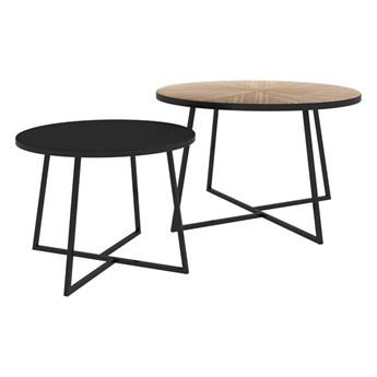 SELSEY Zestaw dwóch stolików kawowych okrągłych Midgen