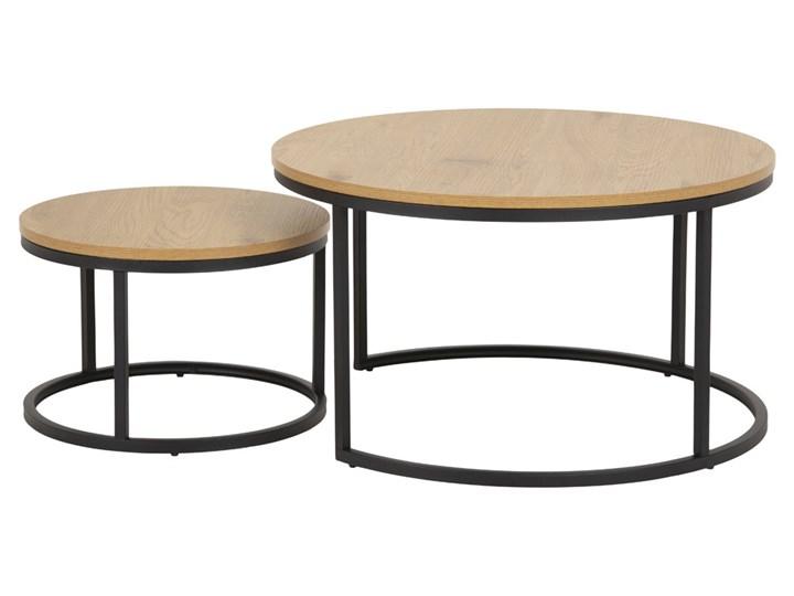 SELSEY Zestaw dwóch stolików kawowych okrągłych Birgita dąb Zestaw stolików Płyta MDF Wysokość 45 cm Styl Nowoczesny Metal Wysokość 44 cm Wysokość 33 cm Rozmiar blatu 80x80 cm
