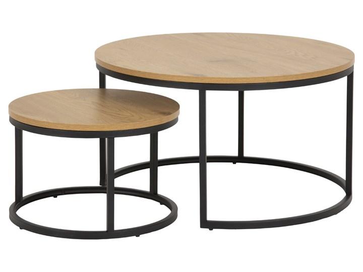 SELSEY Zestaw dwóch stolików kawowych okrągłych Birgita dąb Wysokość 44 cm Wysokość 45 cm Wysokość 33 cm Płyta MDF Zestaw stolików Metal Rozmiar blatu 80x80 cm