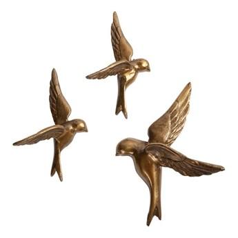 Zestaw 3 dekoracyjnych mosiężnych ptaszków ściennych BePureHome