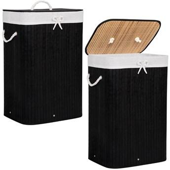 Kosz na pranie 72L pojemnik z klapą bambus naturalny czarny