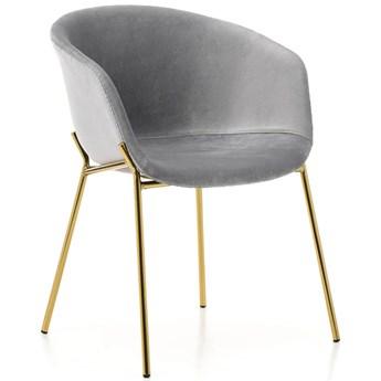 Krzesło tapicerowane glamour welur jasny szary ZL-1486 złote nogi