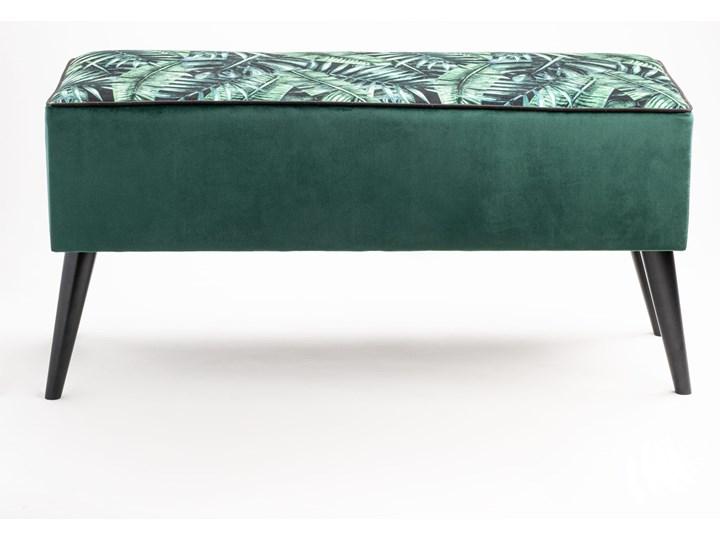 Ławka tapicerowana do przedpokoju Retro Palm Materiał nóżek Drewno