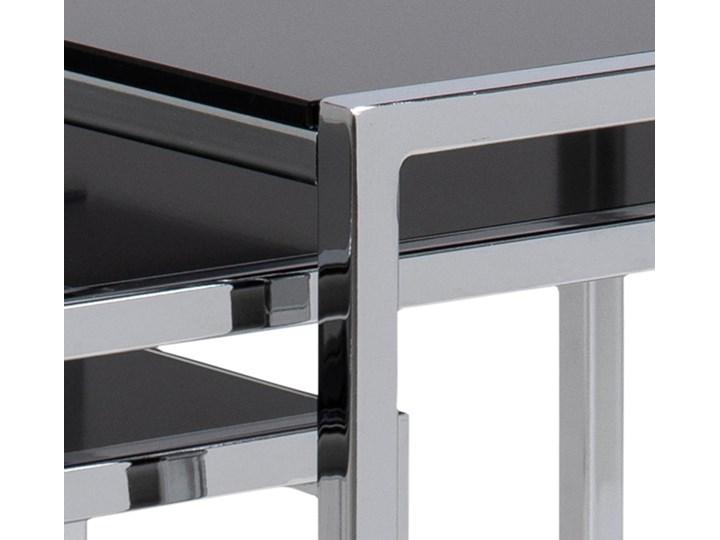 Zestaw trzech stolików kawowych Eby czarne nogi srebrne Typ Zestawy