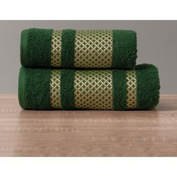LIONEL Ręcznik, 70x140cm, kolor 002 ciemno zielony butelkowy ze złotą bordiurą LIONEL/RB0/002/070140/1