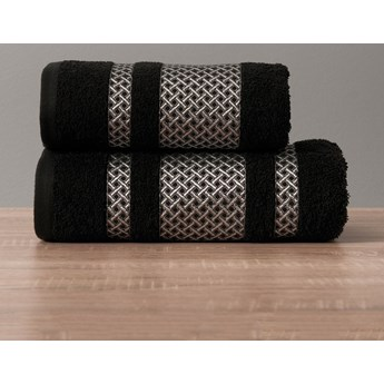 LIONEL Ręcznik, 50x90cm, kolor 156 czarny ze srebrną bordiurą LIONEL/RB0/156/050090/1