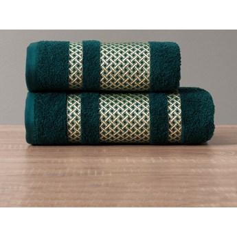 LIONEL Ręcznik, 50x90cm, kolor 001 ciemno turkusowy petrol ze złotą bordiurą LIONEL/RB0/001/050090/1