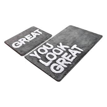 Zestaw 2 szarych prostokątnych dywaników łazienkowych Chilai Great