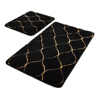 Zestaw 2 czarnych prostokątnych dywaników łazienkowych Chilai Gold Wave
