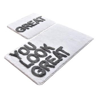 Zestaw 2 białych prostokątnych dywaników łazienkowych Chilai Great
