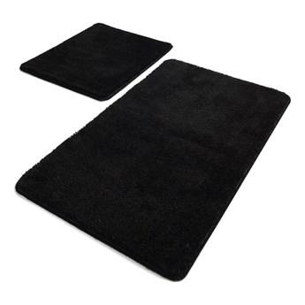 Zestaw 2 czarnych prostokątnych dywaników łazienkowych Chilai