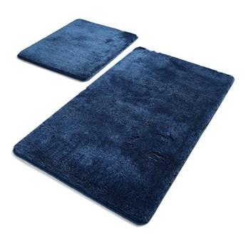 Zestaw 2 ciemnoniebieskich prostokątnych dywaników łazienkowych Chilai