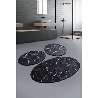 Zestaw 3 czarnych owalnych dywaników łazienkowych Chilai Marble