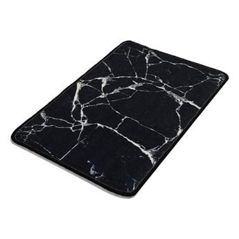 Czarno-biały dywanik łazienkowy z marmurkowym motywem Chilai Marble, 60x40 cm