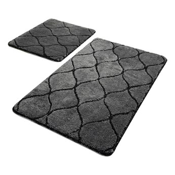 Zestaw 2 ciemnoszarych prostokątnych dywaników łazienkowych Chilai Wave