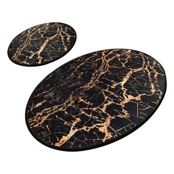 Zestaw 2 czarnych owalnych dywaników łazienkowych Chilai Gold Marble