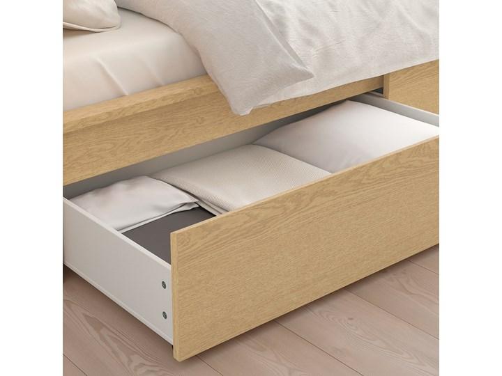 IKEA MALM Rama łóżka z 2 pojemnikami, Okleina dębowa bejcowana na biało, 90x200 cm Łóżko drewniane Drewno Kategoria Łóżka do sypialni Kolor Biały