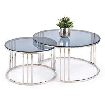 Zestaw okrągłych stolików kawowych Mersilo - Srebrny