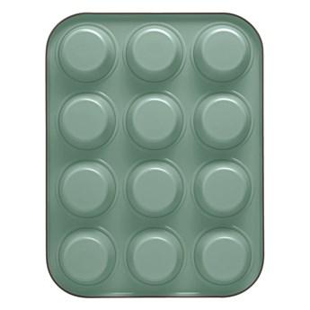 Zielona stalowa forma na 12 muffinów Bon Ton Guardini
