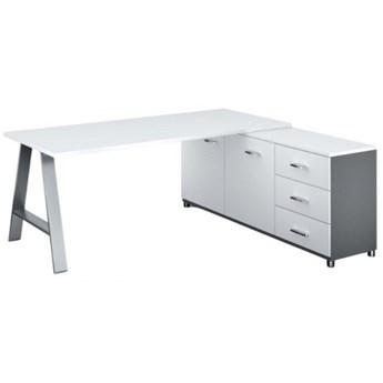 Biurowy stół roboczy ALFA A z szafką po prawej, blat 1800 x 800 mm, biały