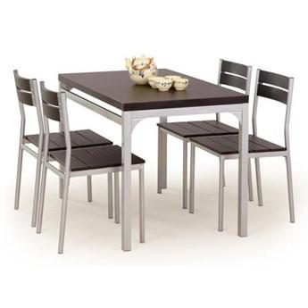 Zestaw MALCOLM stół + 4 krzesła wenge HALMAR