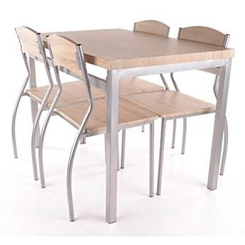 Zestaw ASTRO stół + 4 krzesła dąb sonoma/aluminium SIGNAL