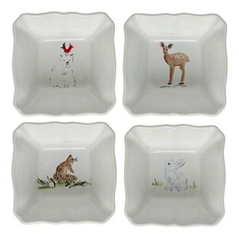 Zestaw 4 świątecznych misek do zapiekania z kamionki Casafina Deer Friends, 10x10 cm