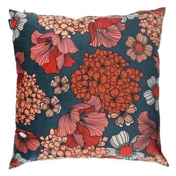 Poduszka kwadratowa w kwiatki DUKA VALLMO 50x50 cm pomarańczowa welur