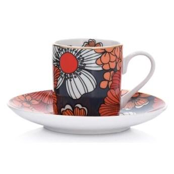 Filiżanka ze spodkiem w kwiaty DUKA VALLMO 90 ml pomarańczowa porcelana