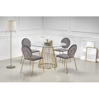 Stół LIVERPOOL 120x120 transparentny/złoty HALMAR