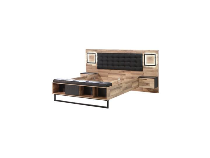 Salony Agata  Łóżko SIRIUS CROWN z szafkami nocnymi i oświetleniem Łóżko tapicerowane Styl Nowoczesny Metal Kategoria Łóżka do sypialni