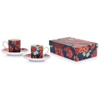 Zestaw 2 filiżanek ze spodkiem w kwiaty DUKA VALLMO 90 ml porcelana