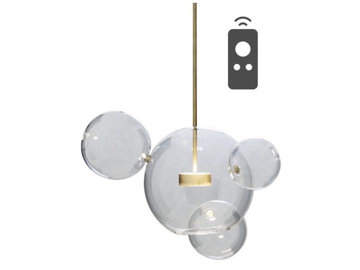 Bubble 4 - duża nowoczesna lampa wisząca - szklane kule pilot, przyciemnianie, 3000-5000K Szkło Mosiądz Lampa kula Metal Lampa z kloszem Funkcje