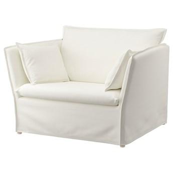 IKEA BACKSÄLEN Fotel 1,5 osobowy, Blekinge biały, Głębokość siedziska: 60 cm
